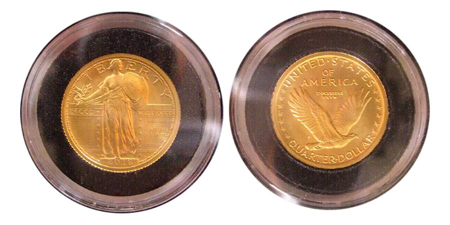 UNITED STATES  100th ANNIVERSARY  2016-W Gold 25 Cents  24K  Gold  NCG- SP  70  First Day Issue