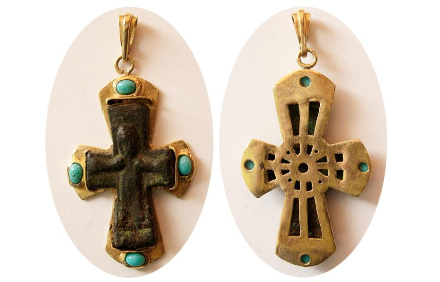 BYZANTINE EMPIRE  Ca  10th -12th  Century AD  Bronze Cross  Set in custom  made 18K gold frame