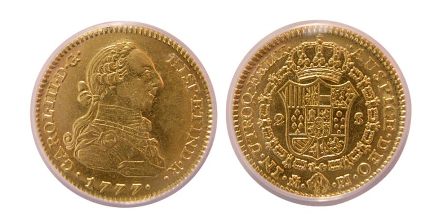 Ancient Coins - SPAIN. Carlos III. 1759-1788. Gold 2 Escudos. 1777-M,PJ. Madrid. ANACS-AU 53.