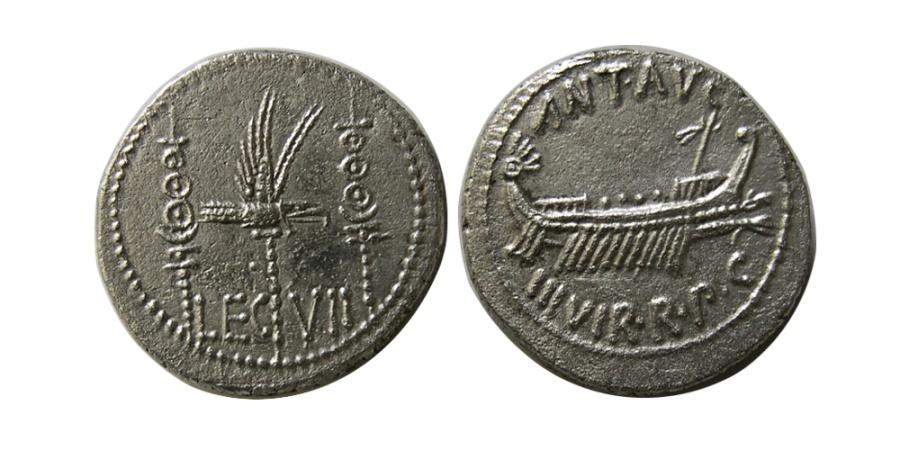 Ancient Coins - ROMAN EMPIRE. Mark Anthony. 32-31 BC. AR Legionary Denarius. Lovely strike.