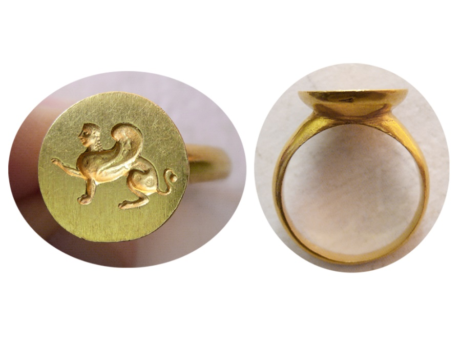 Ancient Coins - Custom made Gold Cameo of Sphinx. Set in a Custom-made 22K. Gold Ring. Ring Size 9.