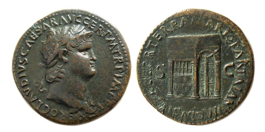 Ancient Coins - ROMAN EMPIRE. Nero. AD. 54-68. Æ Sestertius. Temple of Janus.