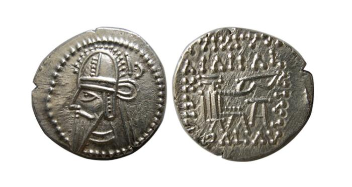 Ancient Coins - KINGS of PARTHIA. Vologases VI. 208-228 AD. AR Drachm