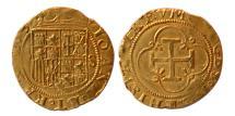 Ancient Coins - SPAIN. Carlos & Juana. 1516-1556. Gold 1 Escudo. Seville mint.