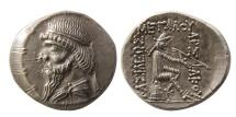 KINGS OF PARTHIA. Mithradates I. 164-132 BC. AR Drachm. Lovely strike. Very Rare.
