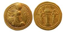 Ancient Coins - SASANIAN KINGS. Varahran (Bahram) II. Gold Dinar. Extremely Rare reverse with 3 pellets and Farahvahar.
