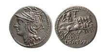 ROMAN REPUBLIC. Lucius Appuleius Saturninus. 104 BC. Silver Denarius.