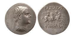Ancient Coins - BAKTRIAN KINGS, Eukratides I. Circa 171-145 BC. AR Tetradrachm.