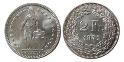 World Coins - SWITZERLAND. 1941. Silver 2 Francs. Helvetia. Lustrous.