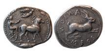 Ancient Coins - SICILY, Messana. Circa 450-439 BC. Silver Tetradrachm.