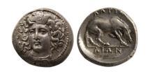 Ancient Coins - THESSALY, Larissa. Circa 344-337 BC. AR Diobol. Rare.