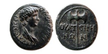 Ancient Coins - LYDIA, Thyatira. Nero, as Caesar. 51-54 AD. Æ 17mm. Lovely strike.