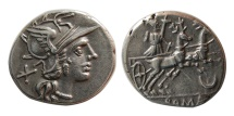 ROMAN REPUBLIC. Anonymous. 143 BC. Silver Denarius.