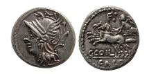 ROMAN REPUBLIC.C. Coelius Caldus. 104 BC. Silver Denarius.