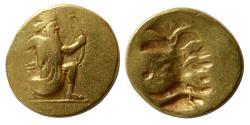 Ancient Coins - ACHAEMENID EMPIRE. temp. Darios III. Circa 375-336 BC. Gold Double Daric. Extremely Rare.
