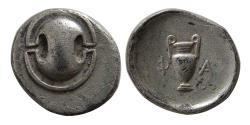 Ancient Coins - BOEOTIA, Pharai. Ca. 375 BC. AR Obol. Rare.
