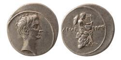 Ancient Coins - ROMAN EMPIRE. Octavian. 32 – 27 BC. Silver Denarius. Rare.