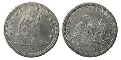 World Coins - UNITED STATES. 1862. Quarter Dollar.
