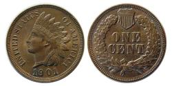 World Coins - UNITED STATES. 1901. Indian Head One Cent.