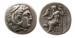 Ancient Coins - KINGS of MACEDON. Alexander III. 336-323 BC. Silver Drachm. Lampsakos mint, struck by Antigonos I