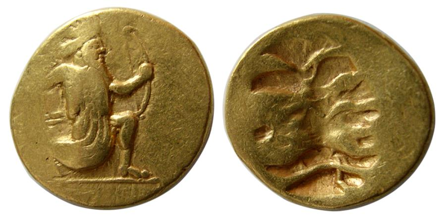 Ancient Coins - ACHAEMENID EMPIRE. temp. Darios III. Circa 375-336 BC. Gold Double Daric. Extremely Rare.