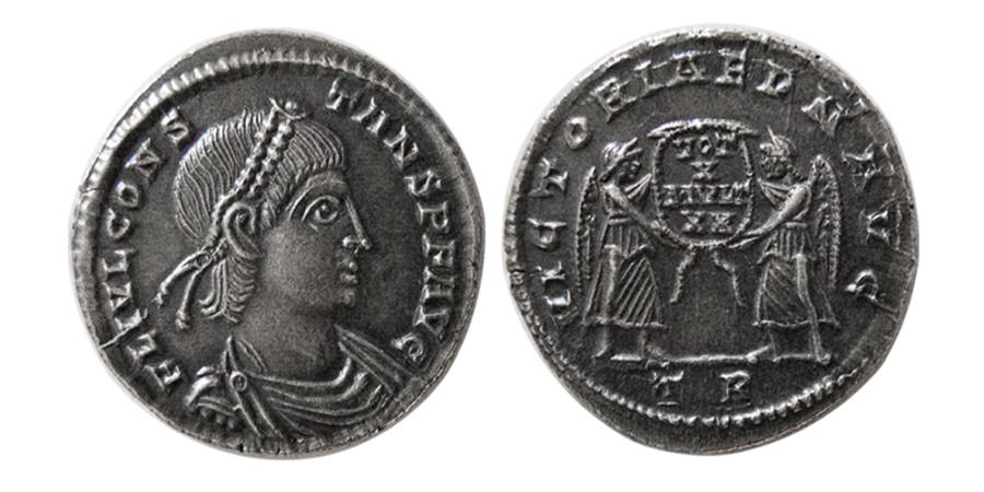 Ancient Coins - ROMAN EMPIRE. Constans. 337-350 AD. AR Siliqua.  Treveri (Trier) mint. Very Rare.