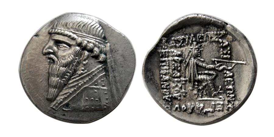 Ancient Coins - PARTHIAN KINGS. Mithradates II. 121-91 BC. AR Drachm.
