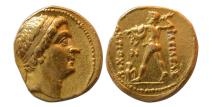 Ancient Coins - BAKTRIAN KINGS. Diodotos I, in the name of Antiochos II of Syria. Ca. 255-235 BC. Gold Stater. Rare