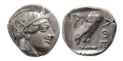 Ancient Coins - ATTICA, Athens. 440-404 BC. Silver Tetradrachm. Wonderful style. Full crest. Choice Superb.