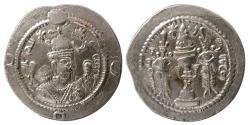 Ancient Coins - SASANIAN KINGS. Khosrau I. AD. 531-579. Silver Drachm. mint: ART (Ardashir Khurreh), year: 5.