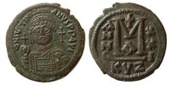 Ancient Coins - BYZANTINE EMPIRE. Justinian I. AD. 527-565. Æ Follis. Cyzicus mint. Dated Year 21.