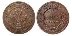 World Coins - RUSSIA. 1903 CNB Cu 3 Kopeks.