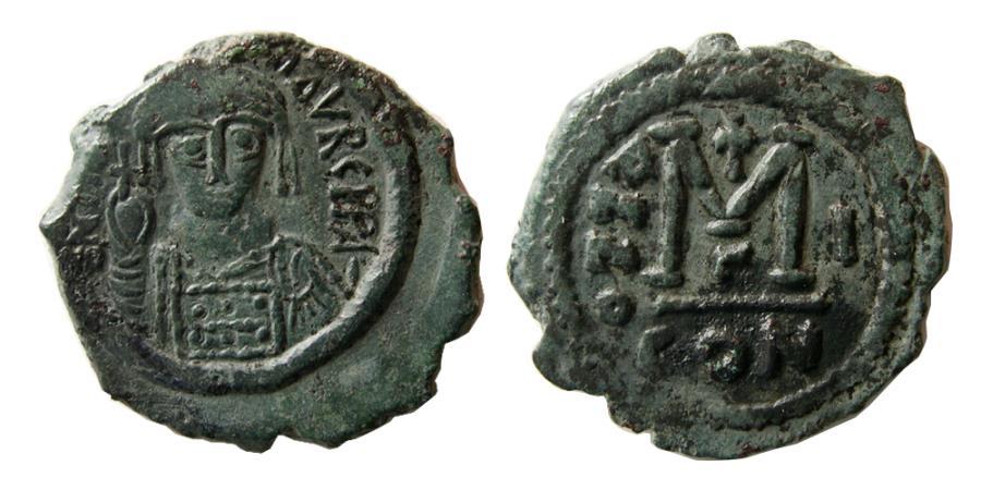 Ancient Coins - BYZANTINE EMPIRE. Maurice Tiberius. 582-602 AD. Æ Follis.