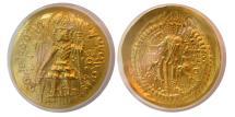Ancient Coins - INDIA, KUSHAN EMPIRE. Vasudeva I. Circa AD. 191-230. Gold Dinar. ANACS-MS60.