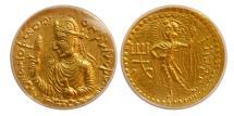 Ancient Coins - INDIA, KUSHAN EMPIRE. Huvishka. 155-187 AD. Gold Dinar. ANACS-AU58.