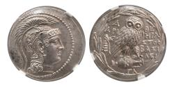 """Ancient Coins - ATTICA. Athens. Ca. 165-42 BC. AR Tetradrachm. """"New Style Coinage"""" NGC-MS."""