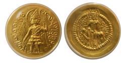 Ancient Coins - INDIA. Kushano-Sasanian. Vasudeva I. Ca. 190-230 AD. AV Dinar. Posthumous issue. ANACS MS-62.