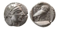Ancient Coins - ATTICA, Athens. Ca. 465-454 BC. Silver Tetradrachm. Lovely example for this earlier issue.