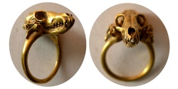Ancient Coins - Custom-made 18K gold hand-made Panter skull Ring. Very interesting & unusual design.