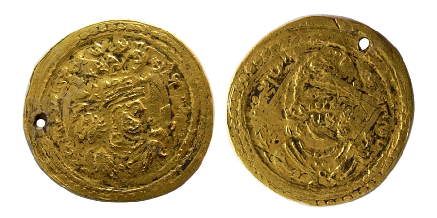 Ancient Coins - SASANIAN KINGS. Khusru II. AD. 590-628. Gold Heavy Dinar. Extremely rare. From The Sunrise Collection.