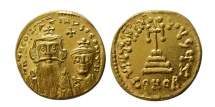 Ancient Coins - BYZANTINE EMPIRE. Constans II. 641-668 AD. AV Solidus. Choice FDC. Lustrous.