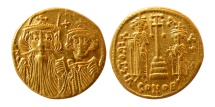 BYZANTINE EMPIRE. Constans II, with Constantine IV. 641-668 AD. AV Solidus. Superb EF. Lustrous.