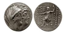 Ancient Coins - SELEUKID KINGS. Antiochos VIII, with Cleopatra Thea. 125-121 BC. Silver Tetradrachm.