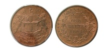 World Coins - INDIA. East India Company. 1858. 1/4 Anna. PCGS-MS 64(RD).