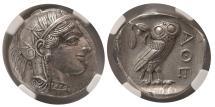 Ancient Coins - ATTICA, Athens. 440-404 BC. Silver Tetradrachm. NGC Choice AU. Lovely strike.