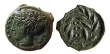 Ancient Coins - SICILY, Himera. Ca. 415-409 B.C. Æ hemilitron. Beautiful example.  Choice FDC.