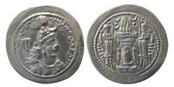 Ancient Coins - SASANIAN KINGS. Yazdgird I. 399-420 AD. Silver Drachm. BBA Mint.