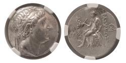 Ancient Coins - SELEUKID KINGDOM, Antiochus I. 281-261 BC. AR Tetradrachm.NGC Choice AU. Seleucia on the Tigris