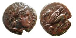 Ancient Coins - SICILY, Entella. Campanian Mercenaries. Ca. 370-350 BC. AE litra. Lovely example for the issue.