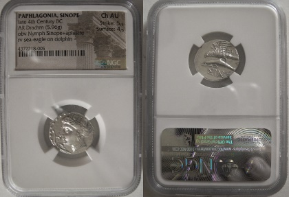 Ancient Coins - PAPHLAGONIA, Sinope. Late 4th Century BC. Silver Drachm.  NGC Choice AU.
